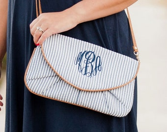 Navy Seersucker Monogrammed Clutch, Personalized Bag