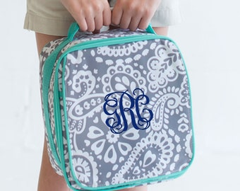 Parker Paisley Girls Monogrammed Lunch Box, Monogram Lunch Bag, Back to School