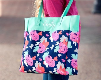 Amelia Monogrammed Tote Bag, Personalized Bag