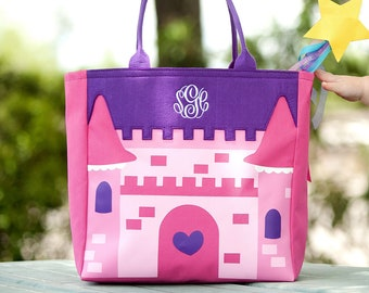 Castle Halloween Tote, Monogrammed Tote Bag, Personalized Bag
