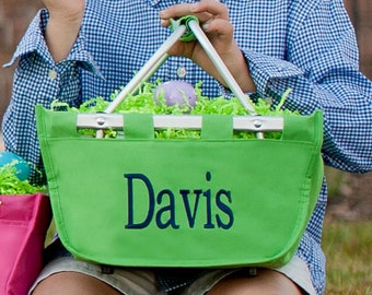 Mini Green Monogram Market Tote Basket, Large Personalized Basket