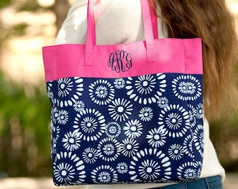 Riley Monogrammed Tote Bag, Personalized Bag