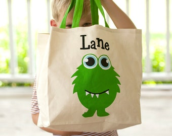Monster Character Tote, Monogrammed Tote Bag, Personalized Bag