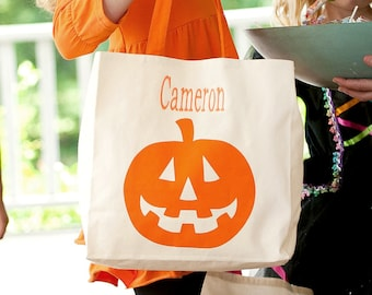 Jack-O-Lantern Canvas Tote, Monogrammed Tote Bag, Personalized Bag