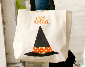 Witch Canvas Tote, Monogrammed Tote Bag, Personalized Bag
