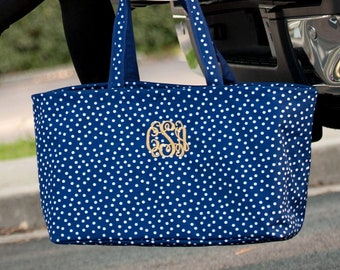 Navy Scattered Dot Monogram Ultimate Tote, Large Personalized Bag