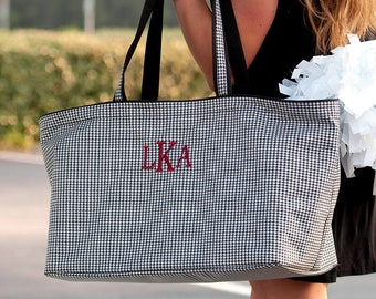 Houndstooth Monogram Ultimate Tote, Large Personalized Bag