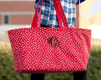 Red Scattered Dot Monogram Ultimate Tote, Large Personalized Bag