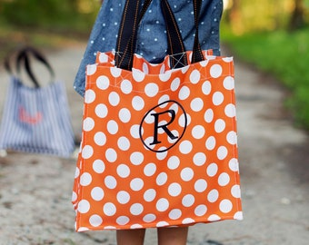 Orange Dot Halloween Tote, Monogrammed Tote Bag, Personalized Bag