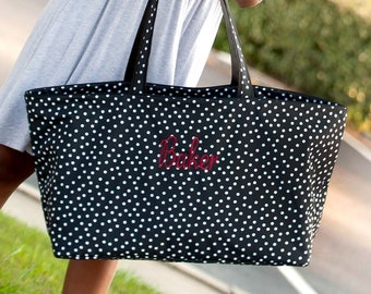 Black Scattered Dot Monogram Ultimate Tote, Large Personalized Bag