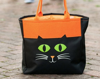 Black Cat Halloween Tote, Monogrammed Tote Bag, Personalized Bag