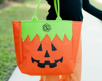 Jack-O-Lantern Halloween Tote, Monogrammed Tote Bag, Personalized Bag