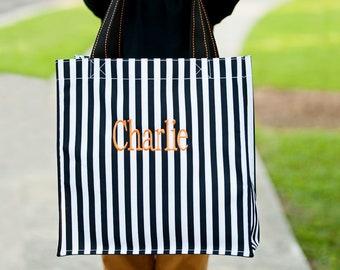 Black Stripe Halloween Tote, Monogrammed Tote Bag, Personalized Bag
