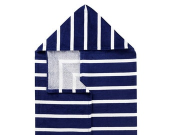 Navy Dandy Stripe Hooded Towel, Optional Embroidery Personalization