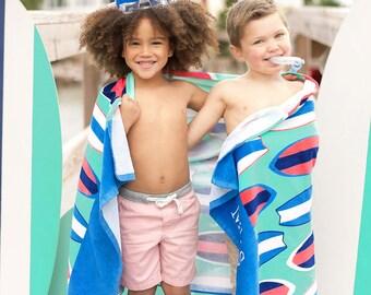 Wave Rider Beach Towel, Personalized Beach Towel, Monogram Towel