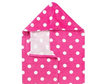 Hot Pink Dandy Dot Hooded Towel, Optional Embroidery Personalization