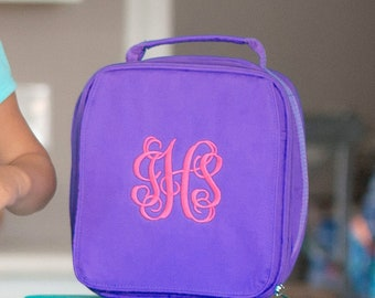 Purple Girls Monogrammed Lunch Box, Monogram Lunch Bag, Back to School
