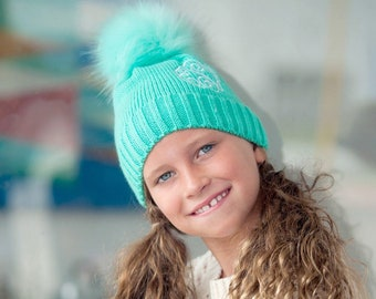 Mint Bella Kids Pom Pom Hat with Monogram