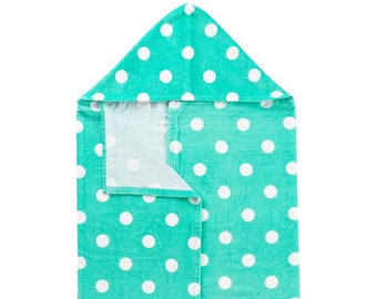 Mint Dandy Dot Hooded Towel, Optional Embroidery Personalization