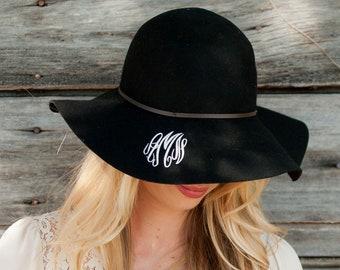 Black Wool Floppy Hat with Monogram for Women