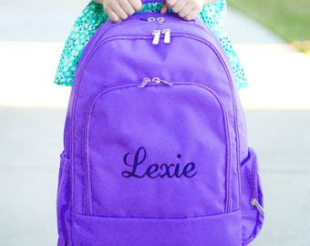 Purple Monogrammed Backpack, Monogram Book Bag, Back to School