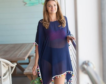 Navy Pom-Tastic Cover Up with Optional Monogram