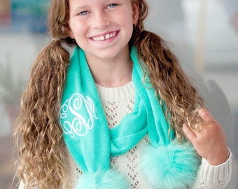 Mint Bella Kids Pom Pom Scarf with Monogram