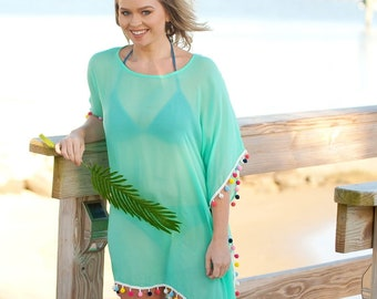 Mint Pom-Tastic Cover Up with Optional Monogram