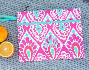Beachy Keen Monogrammed  Zip Pouch Wristlet (with waterproof lining)