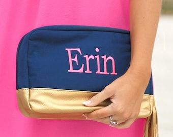 Navy Cabana Monogrammed Cosmetic Bag, Personalized Canvas Pouch