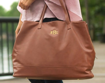 Cambridge Travel Bag in Camel, Large Personalized Weekender Bag