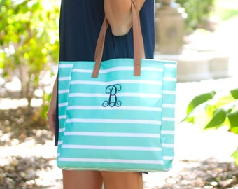 Mint Stripe Monogrammed Tote Bag, Personalized Bag