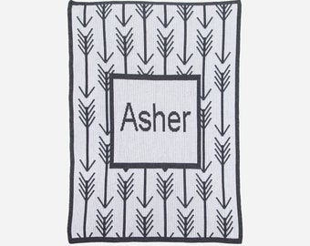 Arrows and Arrows Personalized Knit Blanket (stroller, crib and throw blanket sizes)