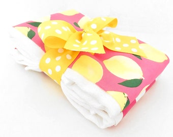 Pink Lemonade Burp Cloth Set