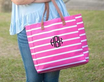 Hot Pink Stripe Monogrammed Tote Bag, Personalized Bag