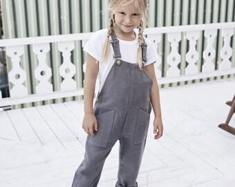 Kids' Farmer Sanders Overalls, Linen Overalls - Several Colors
