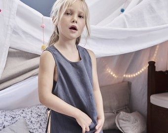 Girls Lowe Linen Dress, Vintage Linen - Several Colors