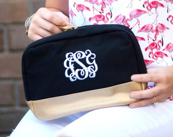 Black Cabana Monogrammed Cosmetic Bag, Personalized Canvas Pouch