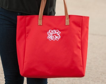 Red Monogrammed Tote Bag, Personalized Bag