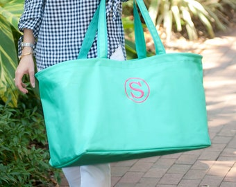 Mint Monogram Ultimate Tote, Large Personalized Bag