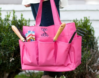 Hot Pink Monogram Carry All Bag, Large Personalized Organizer Bag