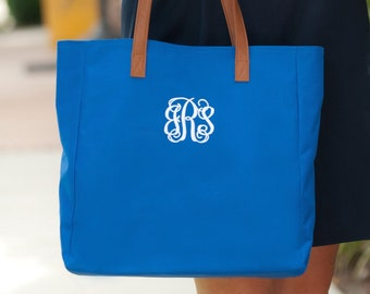 Royal Blue Monogrammed Tote Bag, Personalized Bag