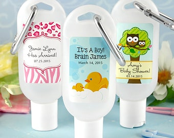 Carabiner Hand Sanitizer 1.5 oz Personalized Baby Shower Favors - Many Designs