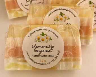 Chamomile Bergamot Glycerin Soap, Handmade Soap, Natural Soap