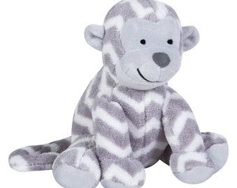 Grey White Chevron Monkey Plush Toy