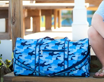 Cool Camo Monogrammed Duffel Bag, Personalized Bag for Boys