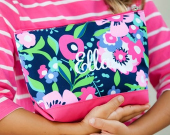 Posie Monogrammed Cosmetic Bag, Personalized Bag