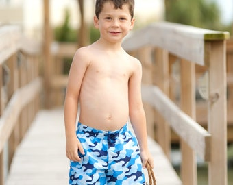 Size 4T-5T Cool Camo Boys' Swim Trunks, Personalized Boys Swimwear