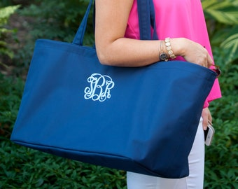 Navy Monogram Ultimate Tote, Large Personalized Bag