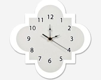 Gray Quatrefoil Wall Clock